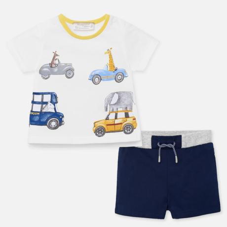 Mayoral Autós-állatos póló és rövidnadrág szett