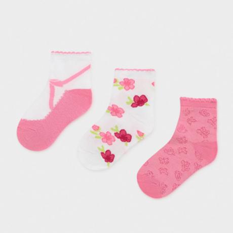Mayoral 3 darabos rózsás-masnis zokni szett